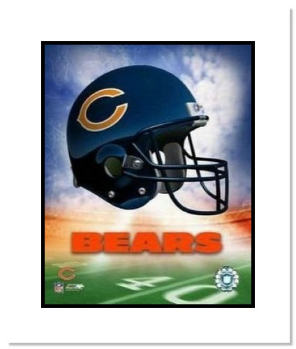 Chicago Bears NFL Double Matted 8x10 Photograph Team Logo and Football Helmet Collage