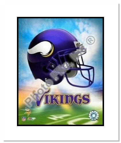 Minnesota Vikings NFL Double Matted 8x10 Photograph Team Logo and Football Helmet Collage