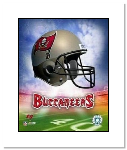 Tampa Bay Buccaneers NFL Double Matted 8x10 Photograph Team Logo and Football Helmet Collage