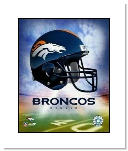 Denver Broncos NFL Double Matted 8x10 Photograph Team Logo and Football Helmet Collage