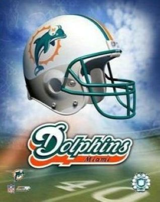 Miami Dolphins NFL 8x10 Photograph Team Logo and Football Helmet Collage
