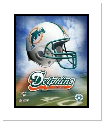 Miami Dolphins NFL Double Matted 8x10 Photograph Team Logo and Football Helmet Collage