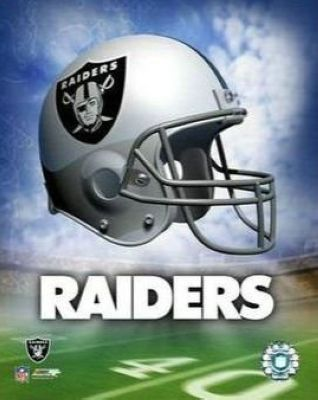 Oakland Raiders NFL 8x10 Photograph Team Logo and Football Helmet Collage