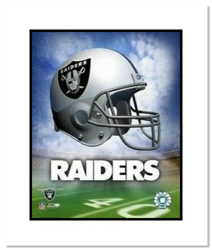Oakland Raiders NFL Double Matted 8x10 Photograph Team Logo and Football Helmet Collage