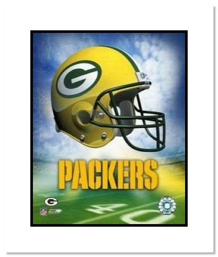 Green Bay Packers NFL Double Matted 8x10 Photograph Team Logo and Football Helmet Collage