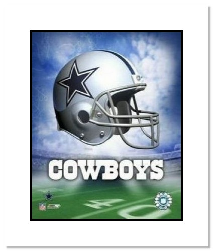 Dallas Cowboys NFL Double Matted 8x10 Photograph Team Logo and Football Helmet Collage