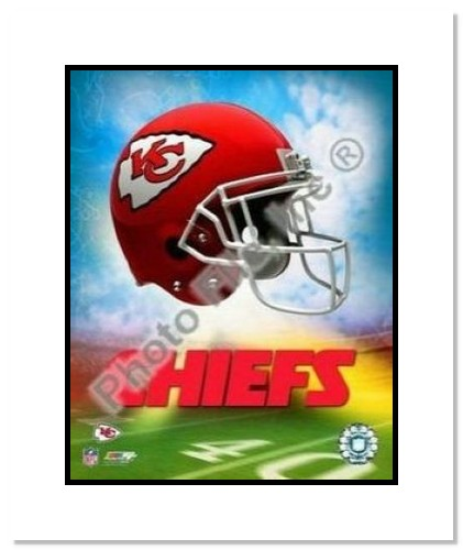 Kansas City Chiefs NFL Double Matted 8x10 Photograph Team Logo and Football Helmet Collage