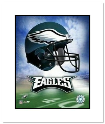 Philadelphia Eagles NFL Double Matted 8x10 Photograph Team Logo and Football Helmet Collage
