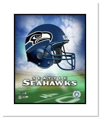 Seattle Seahawks NFL Double Matted 8x10 Photograph Team Logo and Football Helmet Collage