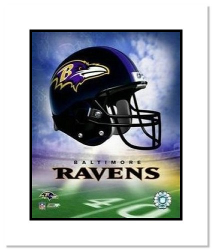 Baltimore Ravens NFL Double Matted 8x10 Photograph Team Logo and Football Helmet Collage