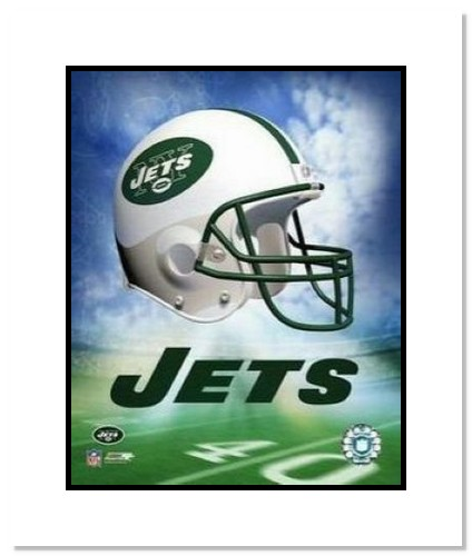 New York Jets NFL Double Matted 8x10 Photograph Team Logo and Football Helmet Collage