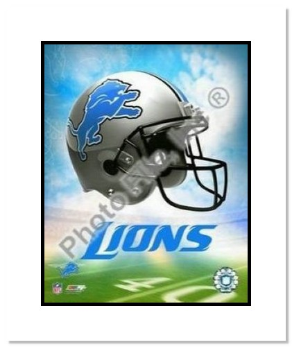 Detroit Lions NFL Double Matted 8x10 Photograph Team Logo and Football Helmet Collage