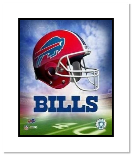 Buffalo Bills NFL Double Matted 8x10 Photograph Team Logo and Football Helmet Collage