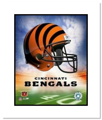 Cincinnati Bengals NFL Double Matted 8x10 Photograph Team Logo and Football Helmet Collage