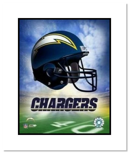 San Diego Chargers NFL Double Matted 8x10 Photograph Team Logo and Football Helmet Collage