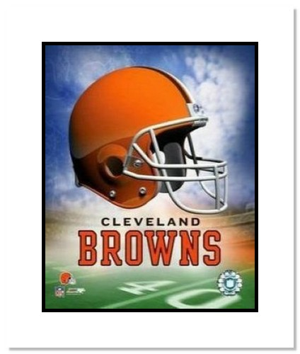 Cleveland Browns NFL Double Matted 8x10 Photograph Team Logo and Football Helmet Collage