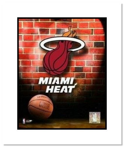 Miami Heat NBA Double Matted 8x10 Photograph Team Logo and Basketball