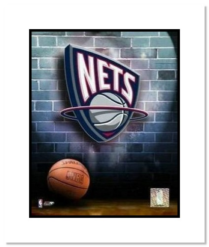 New Jersey Nets NBA Double Matted 8x10 Photograph Team Logo and Basketball
