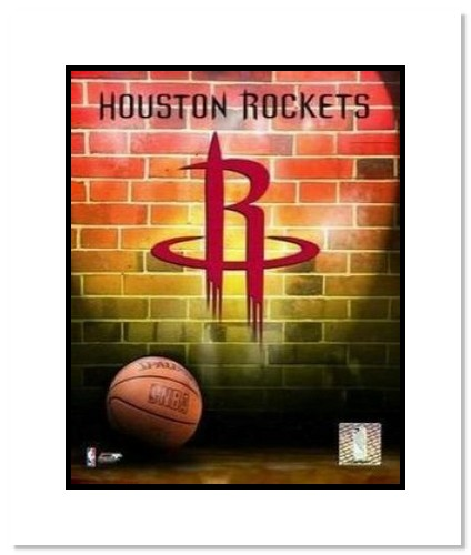 Houston Rockets NBA Double Matted 8x10 Photograph Team Logo and Basketball