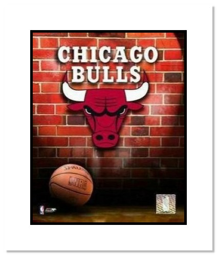 Chicago Bulls NBA Double Matted 8x10 Photograph Team Logo and Basketball