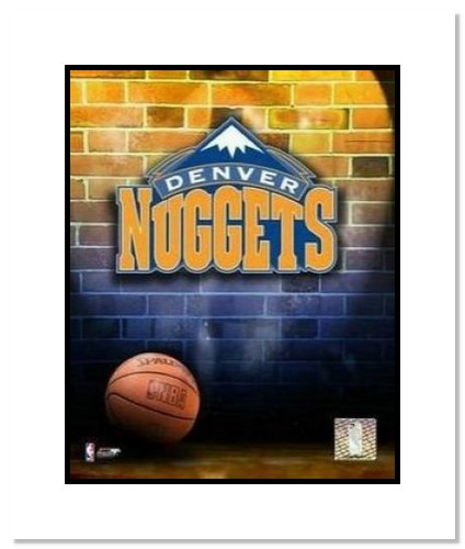 Denver Nuggets NBA Double Matted 8x10 Photograph Team Logo and Basketball