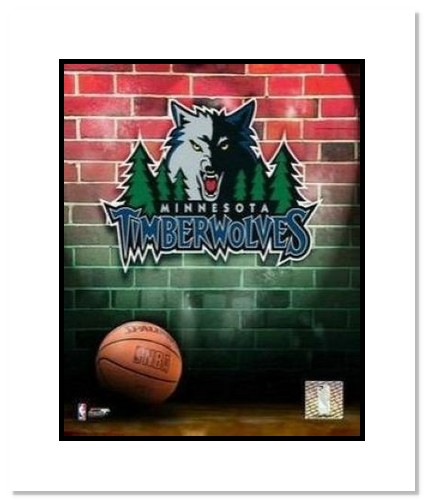 Minnesota Timberwolves NBA Double Matted 8x10 Photograph Team Logo and Basketball