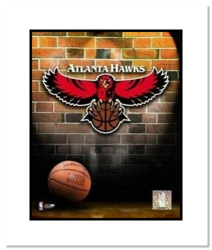 Atlanta Hawks NBA Double Matted 8x10 Photograph Team Logo and Basketball