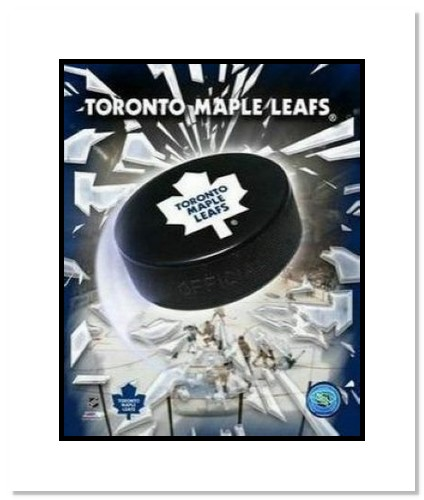 Toronto Maple Leafs NHL Double Matted 8x10 Photograph Team Logo and Hockey Puck