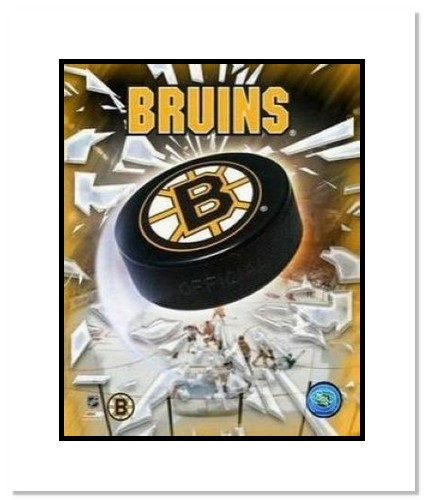 Boston Bruins NHL Double Matted 8x10 Photograph Team Logo and Hockey Puck
