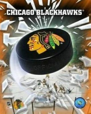 Chicago Blackhawks NHL 8x10 Photograph Team Logo and Hockey Puck