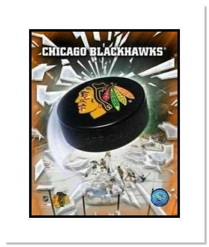 Chicago Blackhawks NHL Double Matted 8x10 Photograph Team Logo and Hockey Puck