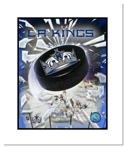 Los Angeles Kings NHL Double Matted 8x10 Photograph Team Logo and Hockey Puck