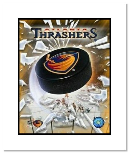 Atlanta Thrashers NHL Double Matted 8x10 Photograph Team Logo and Hockey Puck