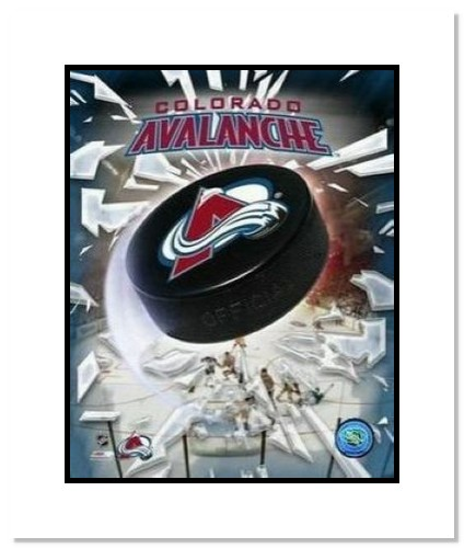 Colorado Avalanche NHL Double Matted 8x10 Photograph Team Logo and Hockey Puck