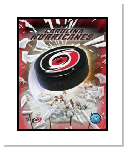Carolina Hurricanes NHL Double Matted 8x10 Photograph Team Logo and Hockey Puck