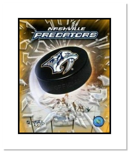 Nashville Predators NHL Double Matted 8x10 Photograph Team Logo and Hockey Puck