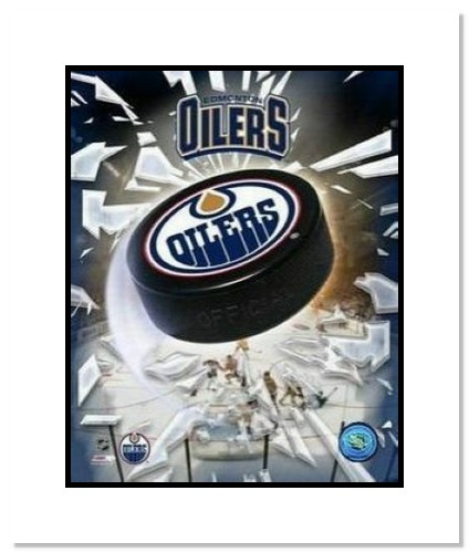 Edmonton Oilers NHL Double Matted 8x10 Photograph Team Logo and Hockey Puck