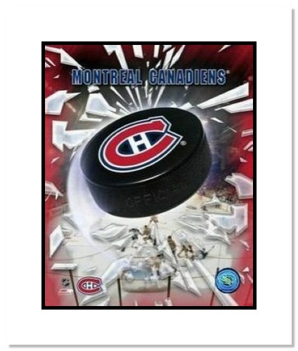 Montreal Canadiens NHL Double Matted 8x10 Photograph Team Logo and Hockey Puck