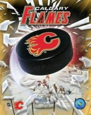Calgary Flames NHL 8x10 Photograph Team Logo and Hockey Puck