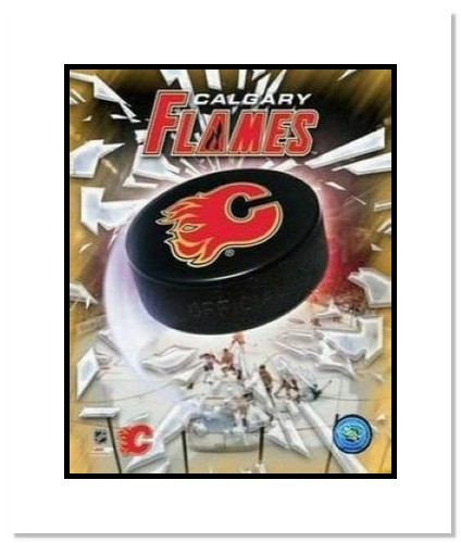 Calgary Flames NHL Double Matted 8x10 Photograph Team Logo and Hockey Puck