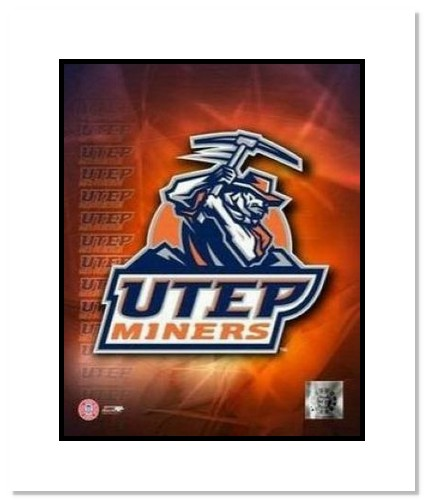 UTEP Miners NCAA Double Matted 8x10 Photograph University of Texas at El Paso Team Logo