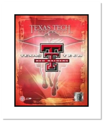 Texas Tech Red Raiders NCAA Double Matted 8x10 Photograph Texas Tech Team Logo