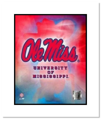 Ole Miss Rebels NCAA Double Matted 8x10 Photograph University of Mississippi Team Logo