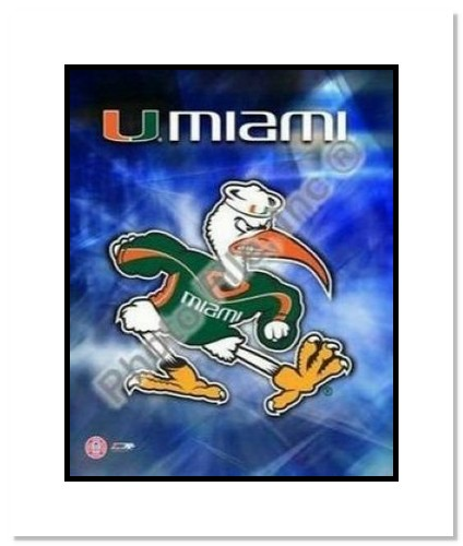 Miami Hurricanes NCAA Double Matted 8x10 Photograph University of Miami Team Logo