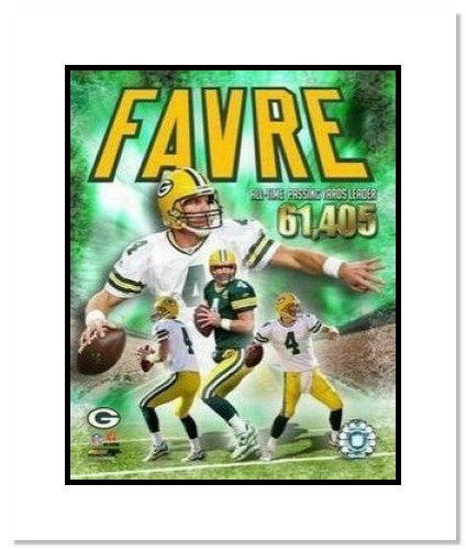 Brett Favre Green Bay Packers NFL Double Matted 8x10 Photograph All Time Passing Leader Collage