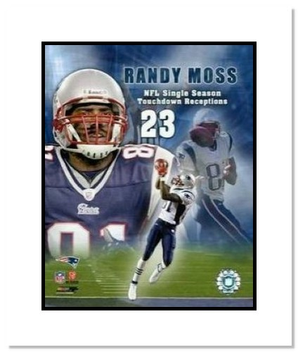 Randy Moss New England Patriots NFL Double Matted 8x10 Photograph 23rd TD Collage