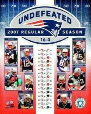 2007 New England Patriots NFL 8x10 Photograph Undefeated Regular Season Collage