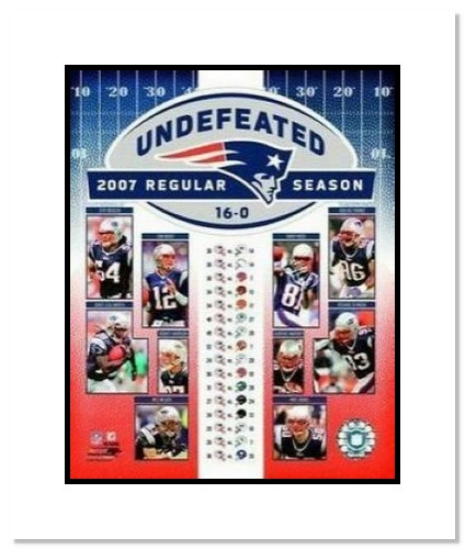 2007 New England Patriots NFL Double Matted 8x10 Photograph Undefeated Regular Season Collage