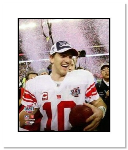 Eli Manning New York Giants NFL Double Matted 8x10 Photograph Super Bowl XLII Podium