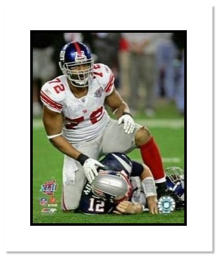 Osi Umenyiora New York Giants NFL Double Matted 8x10 Photograph Super Bowl XLII Sacking Brady